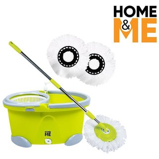 HomeMe Spin Mop  Popular- 360 Degree Self Wringing with 2 Super Absorbers Refills (Green)