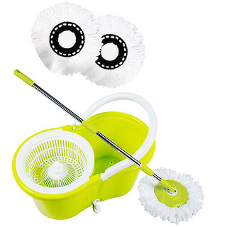HOMENME Spin Mop Value with two 360 degree Super Absorbers Refills (Green) and bucket