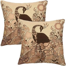 Shitamu Peacock Design Jute Fabric Cushion Covers  16 x 16 inch  Set of 2 pcs  Multicolor VC1
