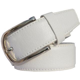 Sunshopping Men's White Formal Leatherite belt (Synthetic leather/Rexine)