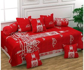 HomeStore-YEP Supersoft Glace Cotton Diwan Set of 8 Pieces for Living Room Dining Hall, Red Color