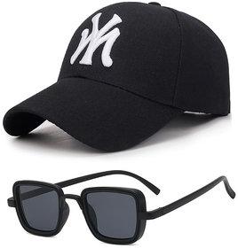 Combo of Davidson Black UV Protected Square For Men Sunglass and Baseball Cap