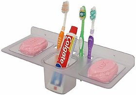 4in1 (Soap case/Toothbrush holder/paste holder) (Material - Acrylic PP) Acrylic Toothbrush Holder (Clear, Wall Mount)