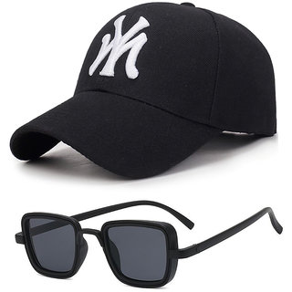 Combo of Davidson Black UV Protected Square For Men Sunglass and Baseball Cap