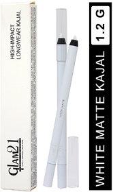 Glam21 High Impact Long Wear Kajal LK505, White Matte, 1.2g With Lilium Aloevera Cream