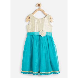 Powderfly Girl's Satin Blue Sequience Sleeveless Dress
