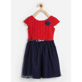 Powderfly Girl's Velvet Red Self-Design Cap Sleeves Dress