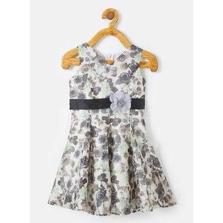 Powderfly Girl's Linen Printed Floral Grey Dress