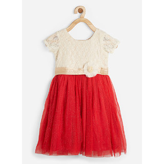 Powderfly Girl's Red Satin Embroidered Cap Sleeves Dress