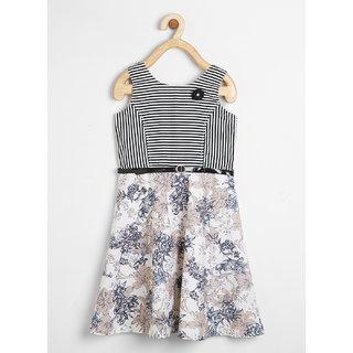 Powderfly Girl's Black Stripe Cotton Dress