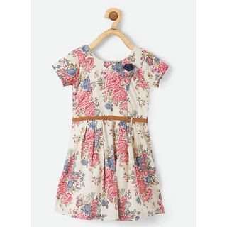 Powderfly Girl's Beige Cotton Floral Round Neck Dress