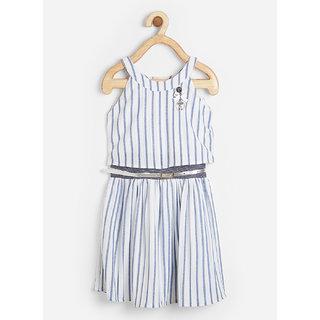 Powderfly Girl's Cotton Grey Stripe Print Round Neck Dress
