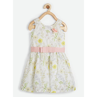 Powderfly Girl's Cotton White Floral Print Round Neck Dress
