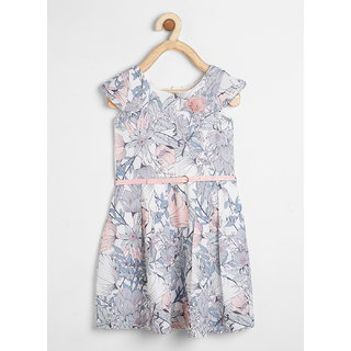 Powderfly Girl's Cotton Grey Floral Print Round Neck Dress