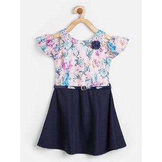 Powderfly Girl's Pink Cotton Floral Print Round Neck Dress