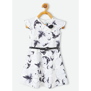 Powderfly Girl's White Cotton Butterfly Printed Dress