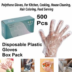 Axtry 500Pcs Disposable Plastic Hand Gloves, Polythene Gloves, For Kitchen, Cooking, House Cleaning, Hair Coloring, Food