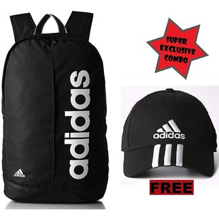 Adidas Lin Per Black Laptop Backpack With Adidas Cap