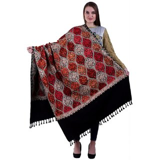 Varun Cloth House Womens Woollen Kashmiri Embroided Shawl (Black, Free Size)