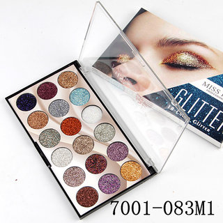 MISS ROSE #1 18 Colors Glitter Eyeshadow Palette Waterproof Shiny Pigment .
