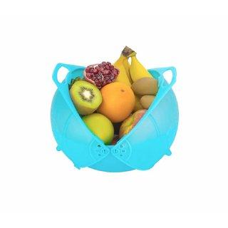 karnavati Plastic Vegetable Fruit Rinse Bowl  Strainer Cum Basket (Assorted Colors)