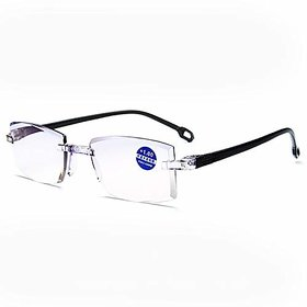 SHISHAMARE LENS POWER 3.0+ Rectangle Rimless Frame Reading Glasses Near Vision Glasses- Unisex with Pouch-Black Color