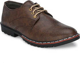 BUCIK Men's Brown Synthetic Leather Casual Shoes