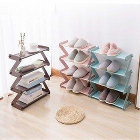 Shopper52 4 Layer Z Type Lightweight Sleek Space Saving Shoe Rack Shoe Organiser Cabinet for Home and Office - ZSHRK