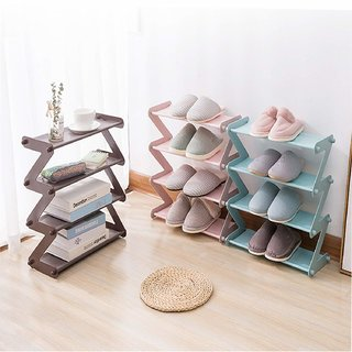 Shopper52 4 Layer Z Type Lightweight Sleek Space Saving Shoe Rack Shoe Organiser Cabinet for Home and Office - ZSHRK