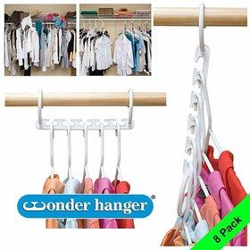Shopper52 8-Pack Wonder Hanger Closet Organizer Closet Space Saver Wardrobe Clothes Hook Organizer - 8PCHANGER
