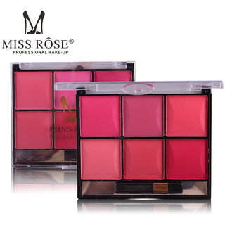 MISS ROSE #2 Professional  Mineral Fashion 6-Color Blusher Makeup Cheek Powder With Brush