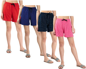 IndiWeaves Womens Cotton Printed Hot Pants/Shorts (Pack of 4)