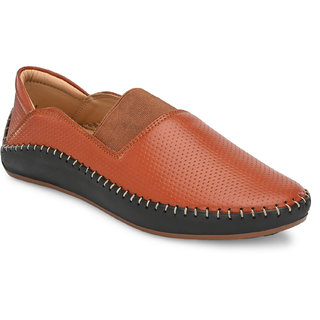 El Paso Men's Tan Faux Leather Casual SLip On Loafers