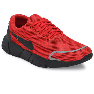 Walkstyle By El Paso Men's Red Air Mesh Series Sports Running Shoes