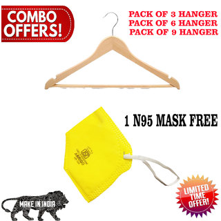 Premium Wood Design Hanger (Pack of 3) With Free N95 mask , pollution mask , corona mask , mask