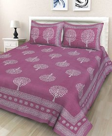 Cotton Rajasthani Print Double Bed Bedsheet with Two Pillow Cover