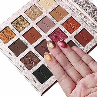 TMG Matte Shimmer Eyeshadow Palette Makeup, 16 Colours (Gold, t1)