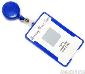 Signistics Combo Pack of Blue ID Card Holder with Retractable Reel YOYO (Made in India)