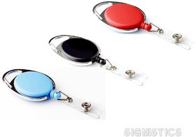 Signistics Plastic Identity Card Badge Holder Retractable Reel Pulley Key Chain (Pack of 3)