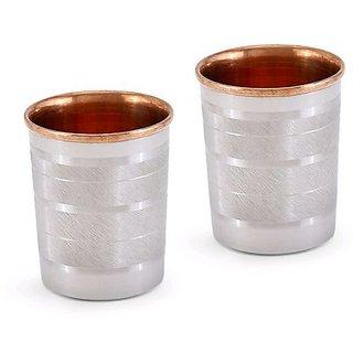 AH Steel Copper Glass, Tumbler, Serving GlassLuxury Design, 250 ML, Water Drinking Glass ( Set of 2 pcs )
