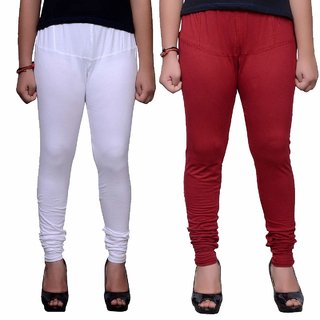 Ruby Style Churidar Cotton Lycra Leggings White, Maroon Free - Size (Pack Of 2)