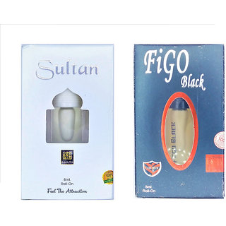 Raviour Lifestyle  Sultan Attar and Figo Black Floral Roll on Attar Each 8ml Combo Pack