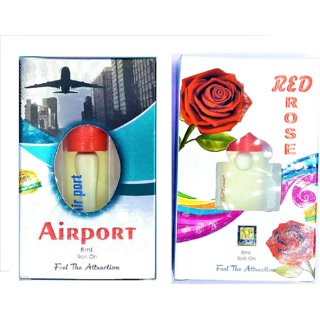 Raviour Lifestyle  Red Rose Attar and Airport Floral Roll on Attar Each 8ml Combo Pack