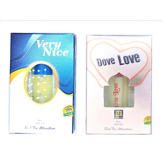 Raviour Lifestyle  Dove Love Attar and Very Nice Floral Roll on Attar Each 8ml Combo Pack