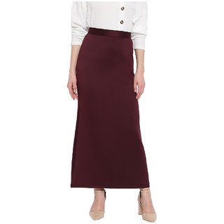 Rivi Wine Color Womens Long Maxi Polyester Pullon Skirt