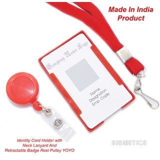 Signistics Plastic Identity Card Badge Holder, Lanyard,  Retractable Reel Pulley YOYO (Pack of 3)(Made In India)