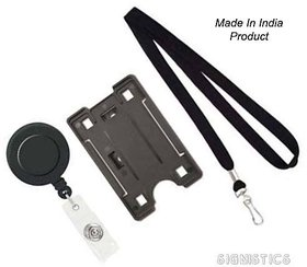 Signistics Made in India ID Card Holder, Lanyard and Retractable Badge Reel YOYO (Black) (Pack of 3)