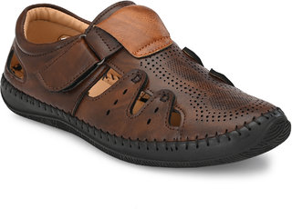 Bucik Men Brown Synthetic Slip on Leather Sandals