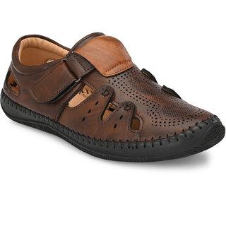 BUCIK Men's Brown Synthetic Leather Sandal