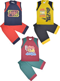 Jisha MultiColor Sleeveless TShirt and Shorts Pack of 3